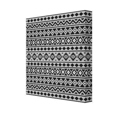 Aztec Themed Aztec Essence Pattern II Black White Grey Canvas Print