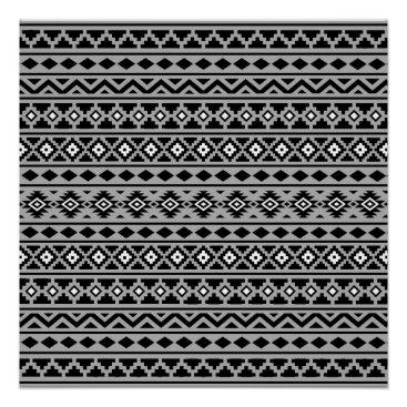 Aztec Themed Aztec Essence Pattern II Black White Grey Poster