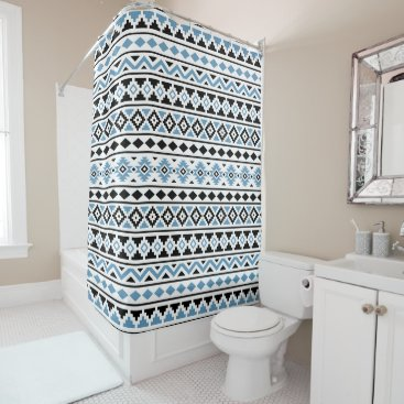 Aztec Themed Aztec Essence Pattern II Blue Black White Shower Curtain
