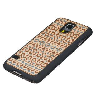 Aztec Essence Pattern II Rust Blue Cream Carved® Maple Galaxy S5 Case