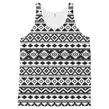 Aztec Themed Aztec Essence Pattern IIb Black & White All-Over-Print Tank Top