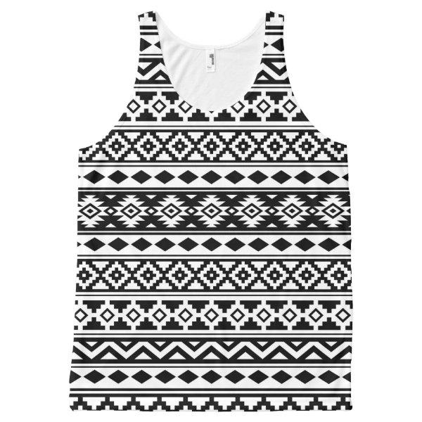Aztec Essence Pattern IIb Black & White All-Over-Print Tank Top