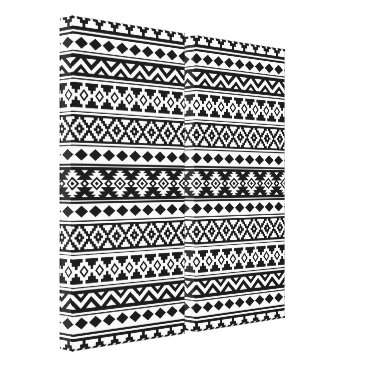 Aztec Themed Aztec Essence Pattern IIb Black & White Canvas Print