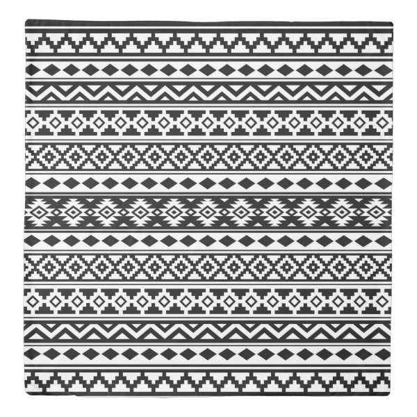 Aztec Essence Pattern IIb Black & White Duvet Cover