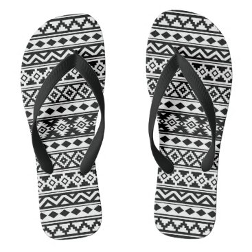 Aztec Themed Aztec Essence Pattern IIb Black & White Flip Flops