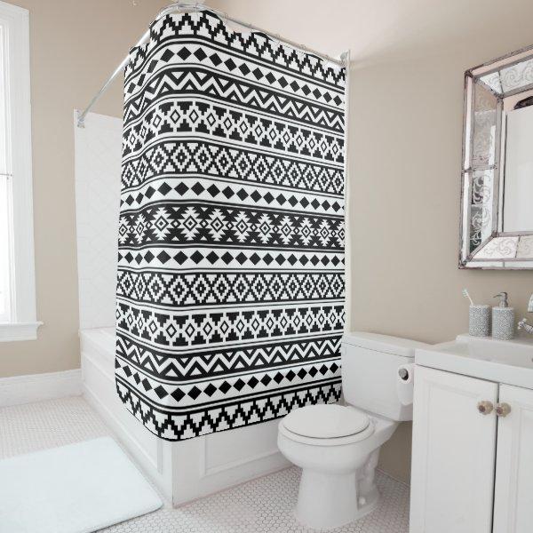 Aztec Essence Pattern IIb Black & White Shower Curtain