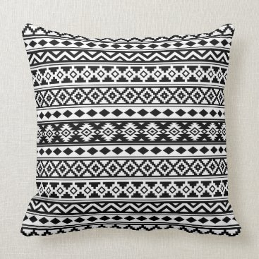 Aztec Themed Aztec Essence Pattern IIb Black & White Throw Pillow