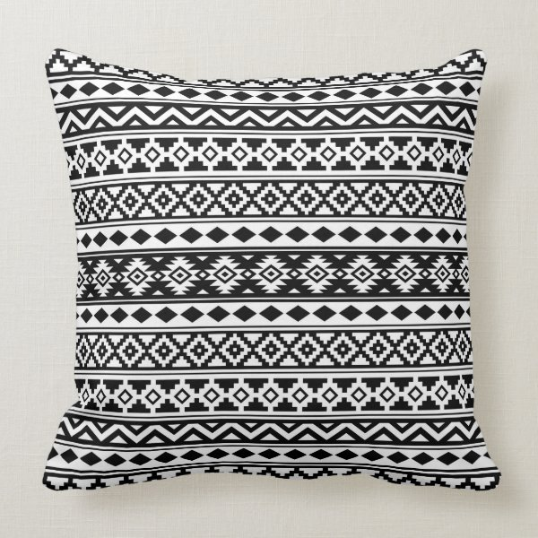Aztec Essence Pattern IIb Black & White Throw Pillow