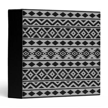 Aztec Themed Aztec Essence Pattern III Black on Grey Binder