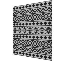 Aztec Essence Pattern III Black on Grey Canvas Print