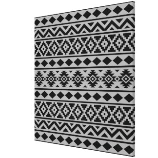 Aztec Essence Pattern III Black on Grey Canvas Print