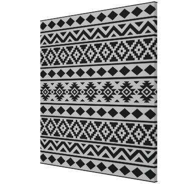 Aztec Themed Aztec Essence Pattern III Black on Grey Canvas Print