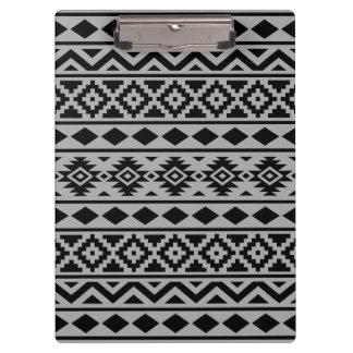 Aztec Essence Pattern III Black on Grey Clipboard