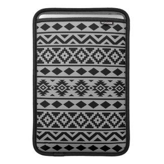 Aztec Essence Pattern III Black on Grey MacBook Air Sleeve