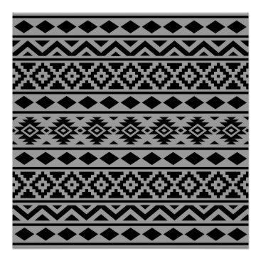 Aztec Themed Aztec Essence Pattern III Black on Grey Poster