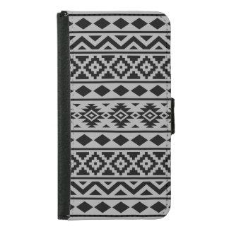 Aztec Essence Pattern III Black on Grey Wallet Phone Case For Samsung Galaxy S5