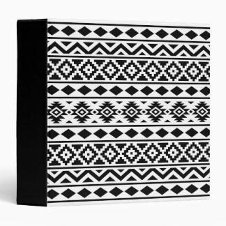 Aztec Essence Pattern III Black on White 3 Ring Binder
