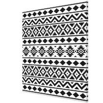 Aztec Essence Pattern III Black on White Canvas Print