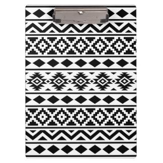 Aztec Essence Pattern III Black on White Clipboard