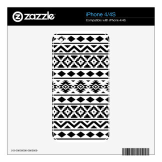 Aztec Essence Pattern III Black on White Decal For iPhone 4