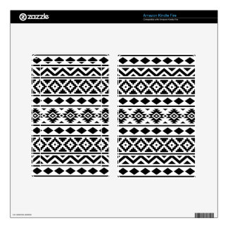 Aztec Essence Pattern III Black on White Kindle Fire Skin
