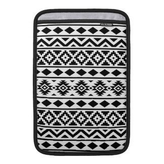 Aztec Essence Pattern III Black on White MacBook Sleeve