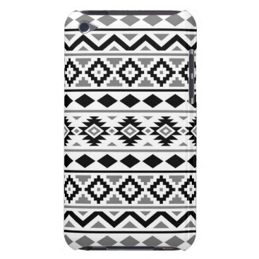 Aztec Themed Aztec Essence Pattern III Black White Gray Barely There iPod Cover