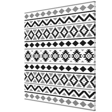 Aztec Themed Aztec Essence Pattern III Black White Gray Canvas Print