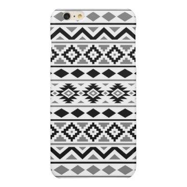 Aztec Themed Aztec Essence Pattern III Black White Gray Glossy iPhone 6 Plus Case