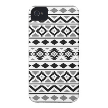 Aztec Themed Aztec Essence Pattern III Black White Gray iPhone 4 Case