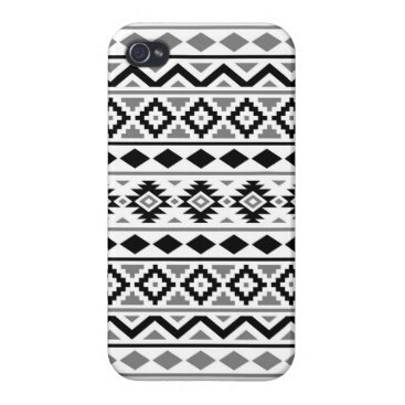 Aztec Themed Aztec Essence Pattern III Black White Gray iPhone 4 Covers