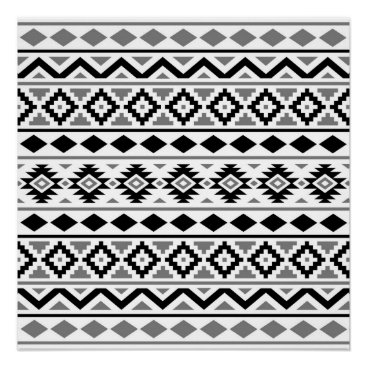 Aztec Themed Aztec Essence Pattern III Black White Gray Poster