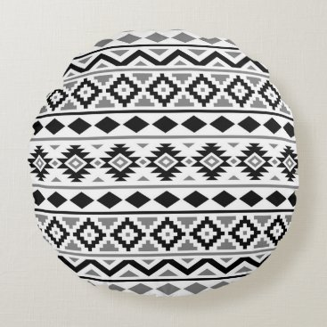 Aztec Themed Aztec Essence Pattern III Black White Gray Round Pillow