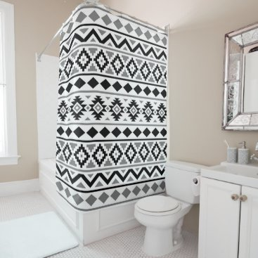 Aztec Themed Aztec Essence Pattern III Black White Gray Shower Curtain