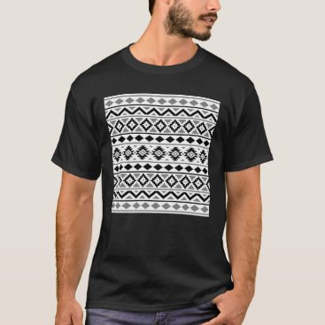 Aztec Themed Aztec Essence Pattern III Black White Gray T-Shirt