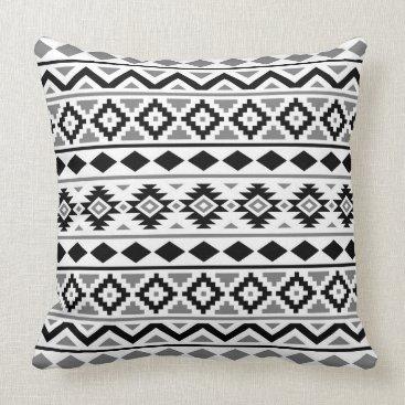Aztec Themed Aztec Essence Pattern III Black White Gray Throw Pillow