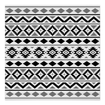 Aztec Themed Aztec Essence Pattern III Black White Grey Poster