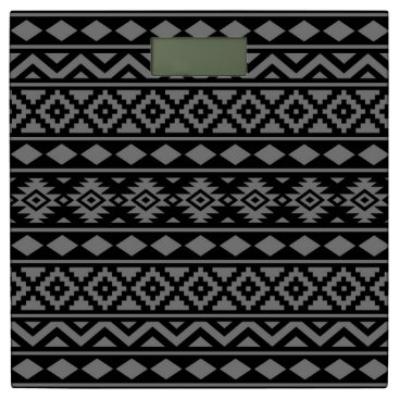 Aztec Themed Aztec Essence Pattern III Grey on Black Bathroom Scale