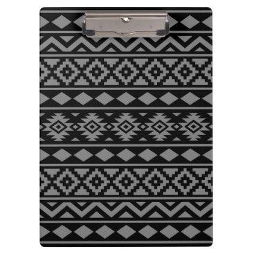 Aztec Themed Aztec Essence Pattern III Grey on Black Clipboard