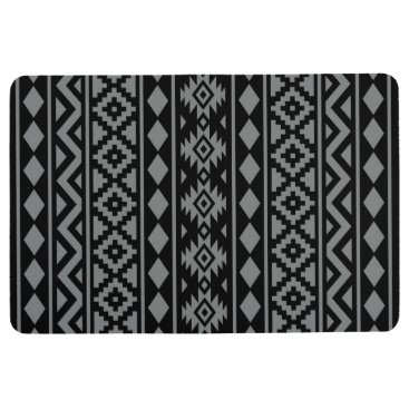 Aztec Themed Aztec Essence Pattern III Grey on Black Floor Mat