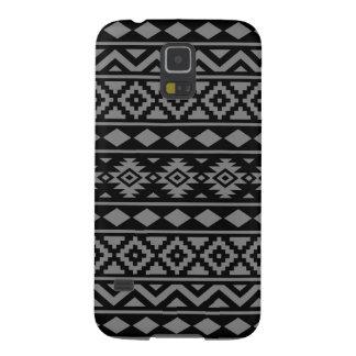 Aztec Essence Pattern III Grey on Black Galaxy S5 Cases