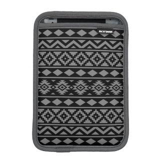 Aztec Essence Pattern III Grey on Black iPad Mini Sleeve
