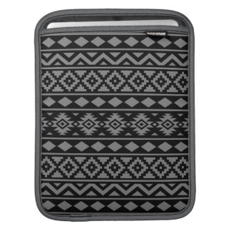 Aztec Essence Pattern III Grey on Black iPad Sleeves