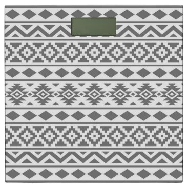 Aztec Themed Aztec Essence Pattern III Grey on White Bathroom Scale