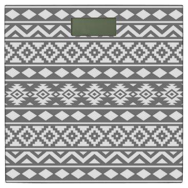 Aztec Themed Aztec Essence Pattern III White on Grey Bathroom Scale