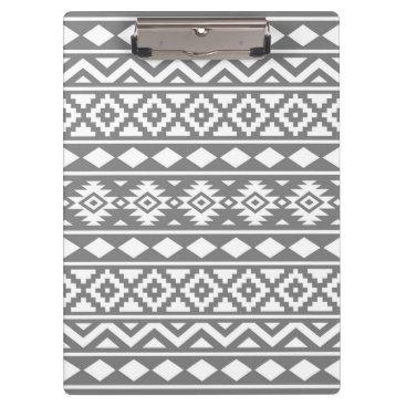 Aztec Themed Aztec Essence Pattern III White on Grey Clipboard