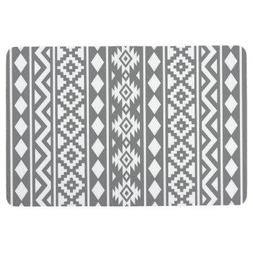 Aztec Themed Aztec Essence Pattern III White on Grey Floor Mat