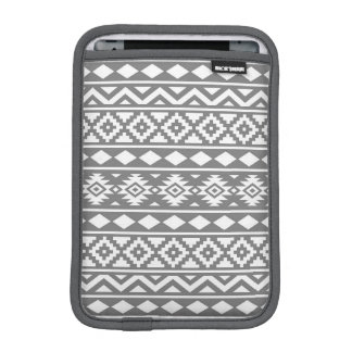 Aztec Essence Pattern III White on Grey Sleeve For iPad Mini