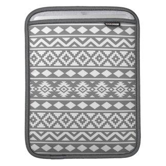 Aztec Essence Pattern III White on Grey Sleeve For iPads