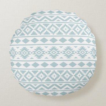 Aztec Themed Aztec Essence Ptn III Duck Egg Blue on White Round Pillow